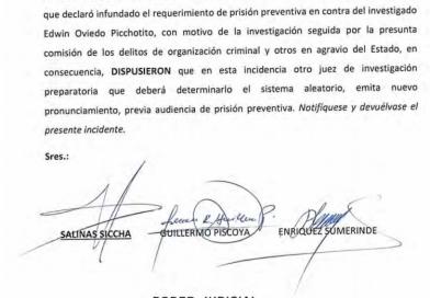 Anulan resolución que rechazó prisión preventiva para Edwin Oviedo